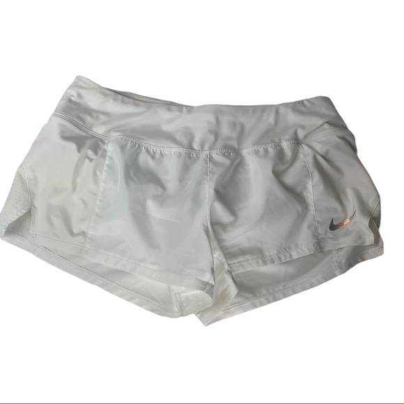 Nike white running shorts lined drawstring waist